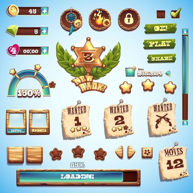 Gran conjunto de elementos de estilo de dibujos animados para el diseño de la interfaz en el juego wild west Vector Premium