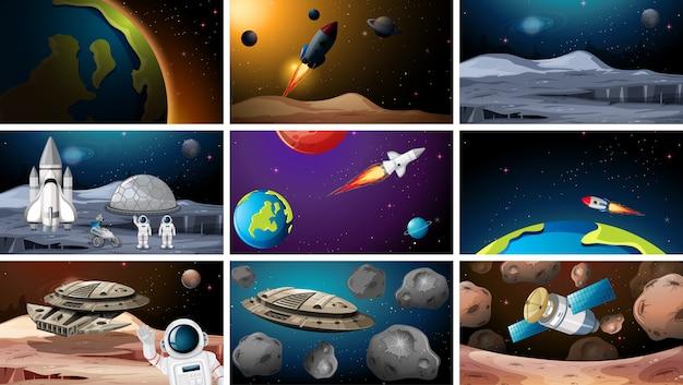 Gran conjunto de escenas espaciales. vector gratuito