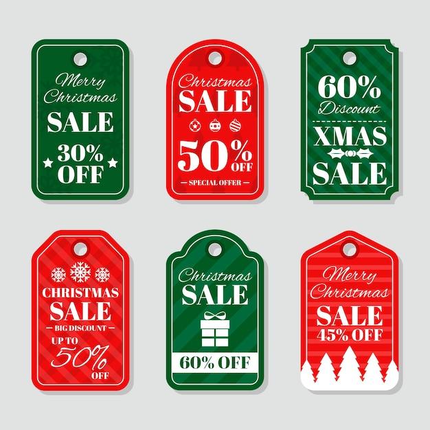 Gran conjunto de etiquetas de navidad de vacaciones de diseño plano vector gratuito