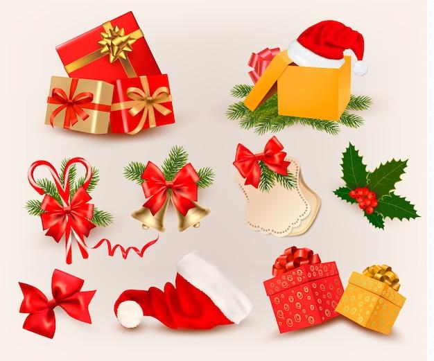 Gran conjunto de iconos y objetos navideños. Vector Premium
