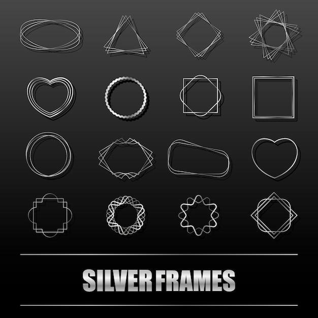 Gran conjunto de marcos de metal plateado Vector Premium