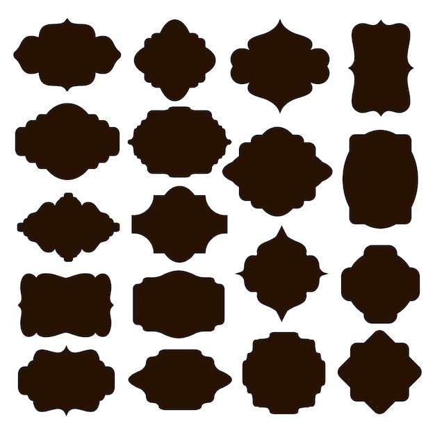 Gran conjunto de marcos de silueta negra vectorial o cartuchos para insignias en diseños y formas simétricas curvas y redondeadas clásicas ornamentadas vector gratuito