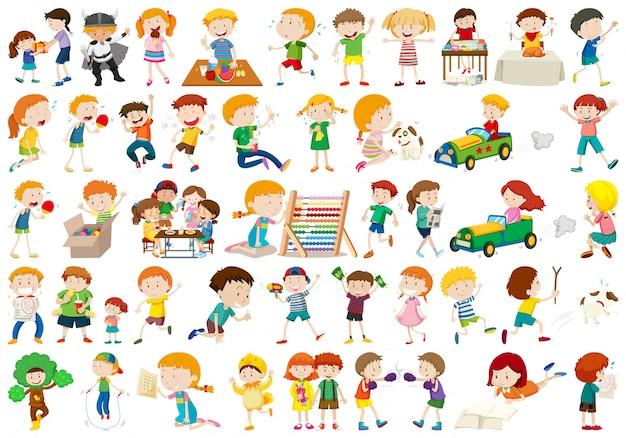 Gran conjunto de niños vector gratuito