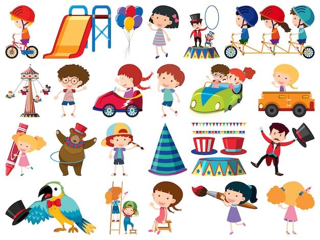 Gran conjunto de objetos aislados de niños y circo. Vector Premium