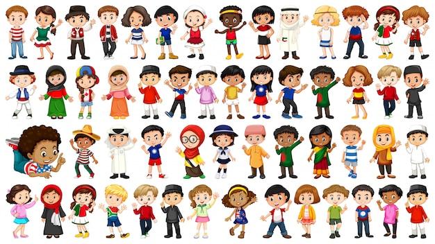 Gran conjunto de personas étnicas. vector gratuito