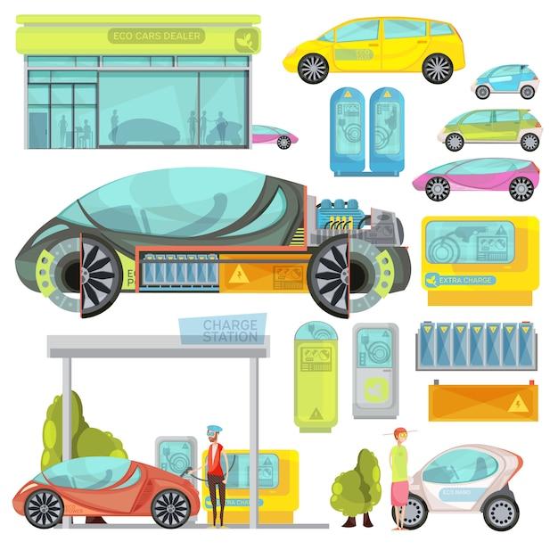 Gran conjunto plano de colores de eco electro coches y estaciones de carga aisladas sobre fondo blanco vector gratuito