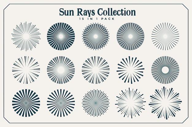Gran conjunto de rayos de sol y rayos en muchos estilos. vector gratuito