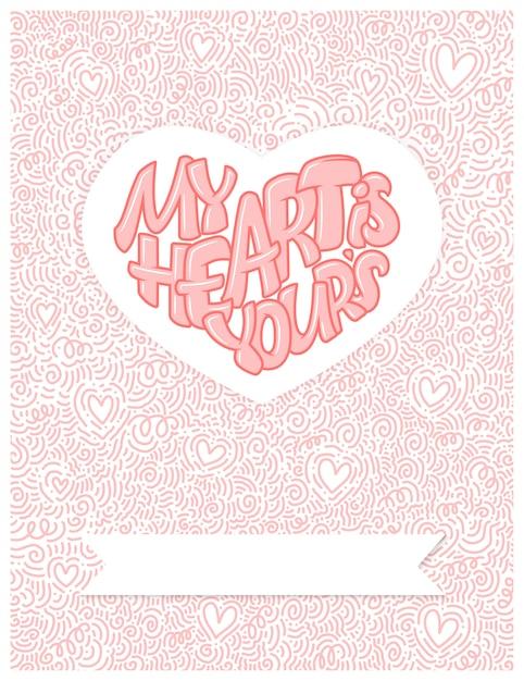 Gran corazón con letras Vector Premium