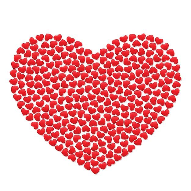 Gran corazón con pequeños corazones rojos. | Vector Premium