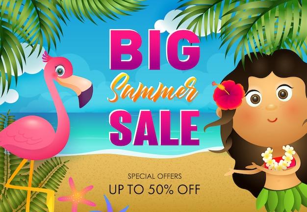 Gran diseño de flyer de venta de verano. flamingo y niña hawaiana vector gratuito