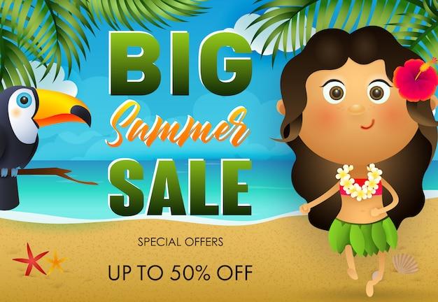 Gran diseño de flyer de venta de verano. tucán, niña hawaiana vector gratuito