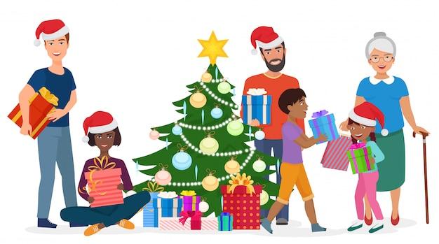 Gran familia feliz decora el árbol de navidad juntos. ilustración vectorial Vector Premium