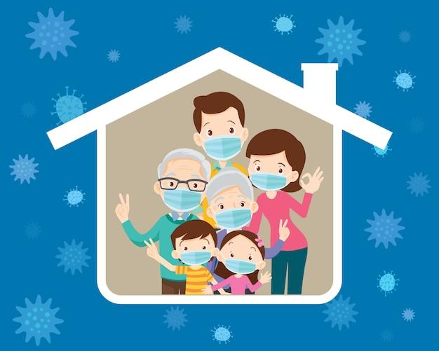 Gran familia usando una máscara quirúrgica para prevenir el virus en el icono de la casa Vector Premium