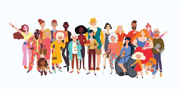 Gran grupo de personas diversas unidas con felicidad. selección de personas mayores, de color, discapacitadas y diferentes. diversidad social, relación, recursos humanos, gran grupo familiar. Vector Premium