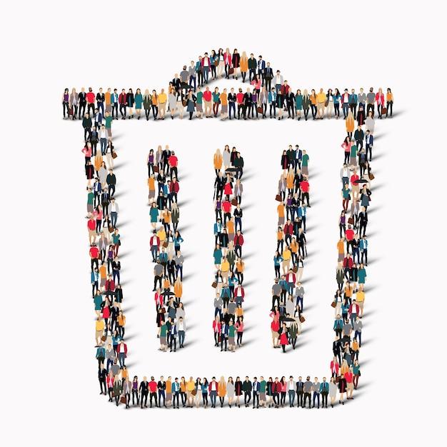 Un gran grupo de personas en forma de bote de basura. . Vector Premium