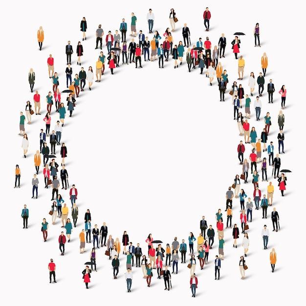 Gran grupo de personas en forma de círculo. Vector Premium
