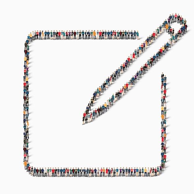 Un gran grupo de personas en forma de signo de tableta, bolígrafo, icono. Vector Premium