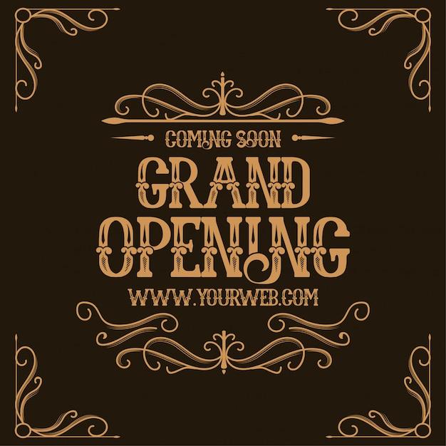 Gran inauguración banner con letras vintage vector gratuito