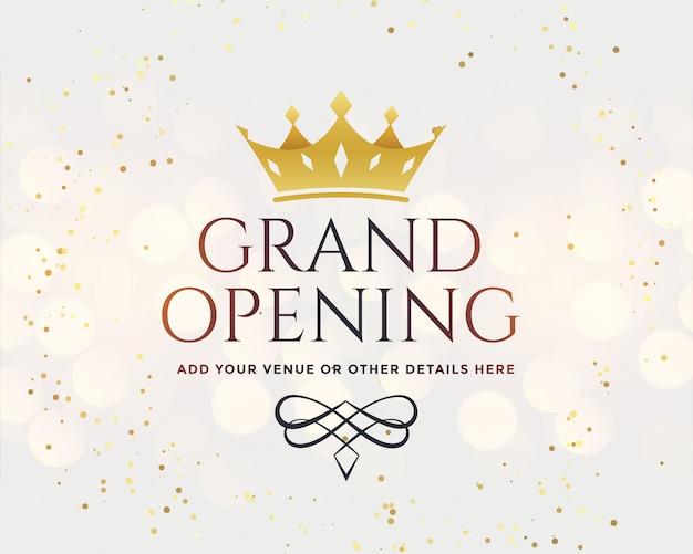 Gran inauguración blanca con corona dorada vector gratuito