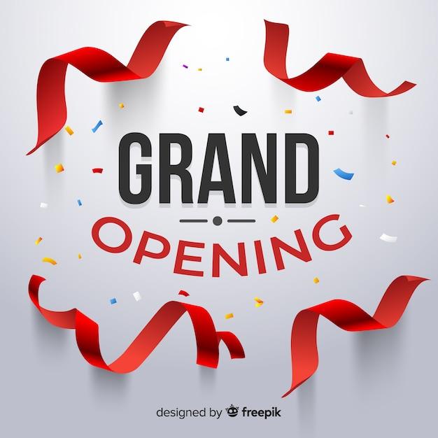 Gran inauguración con confetti realista vector gratuito