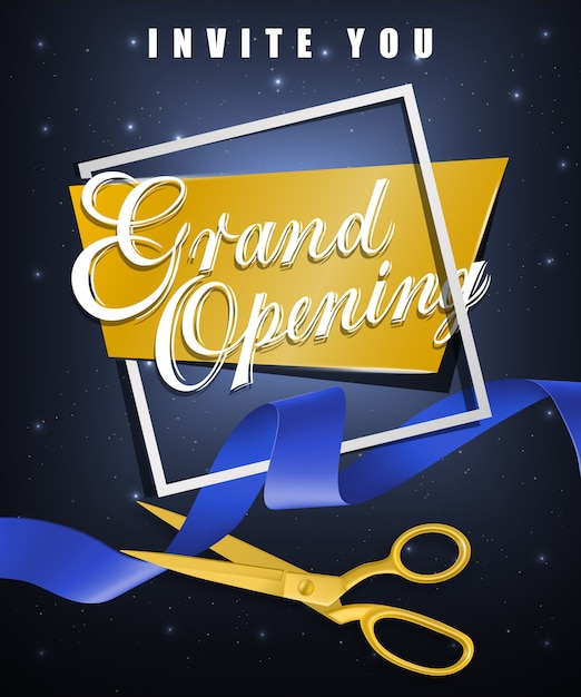 Gran inauguración, invítele un póster festivo con marco blanco y tijeras de oro vector gratuito