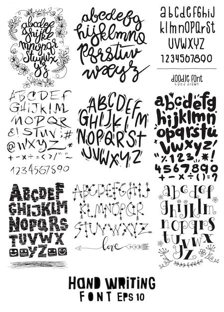 Gran juego de letras escritas a mano sobre diseño de caligrafía Vector Premium