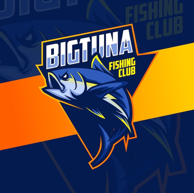 Gran mascota de pesca de atún diseño de logotipo esport Vector Premium