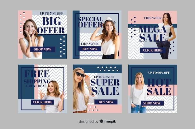Gran oferta moda venta instagram post collection vector gratuito
