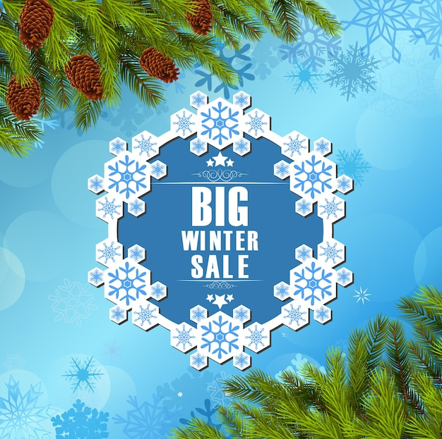 Gran plantilla de venta de invierno con fondo de árbol de pino ...