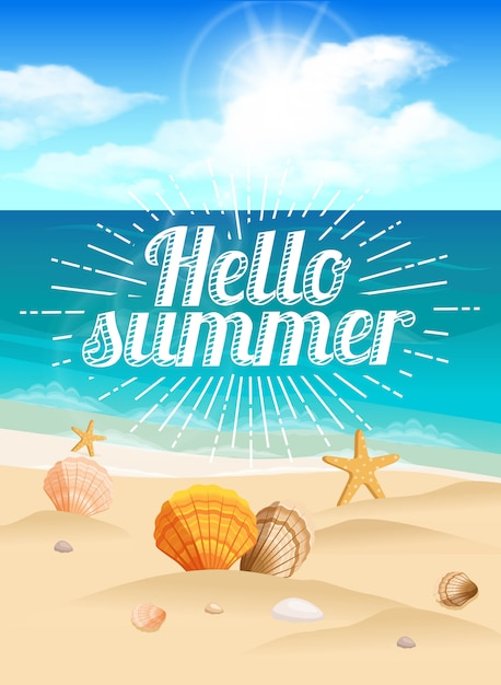 Gran postal, hermoso paisaje de una playa de verano Vector Premium
