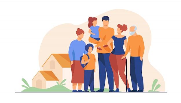 Gran reunión familiar vector gratuito