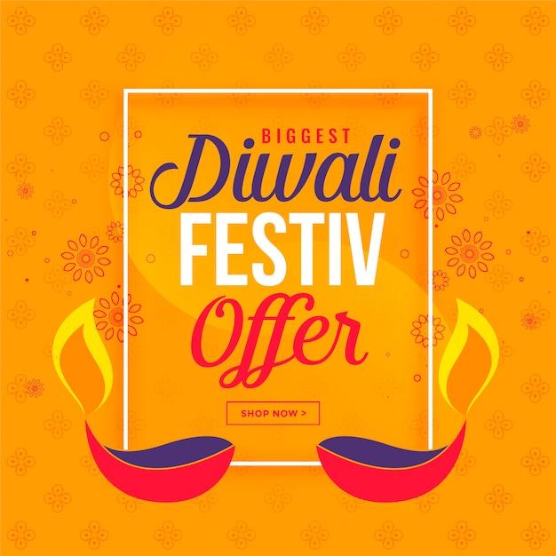 Gran venta de diwali y fondo de oferta con diya vector gratuito