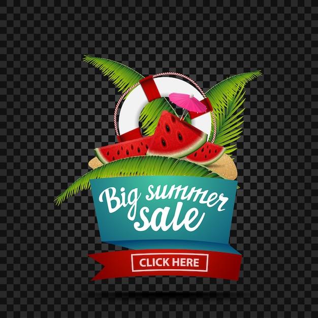 Gran venta de verano, banner de descuento aislado en un fondo oscuro Vector Premium