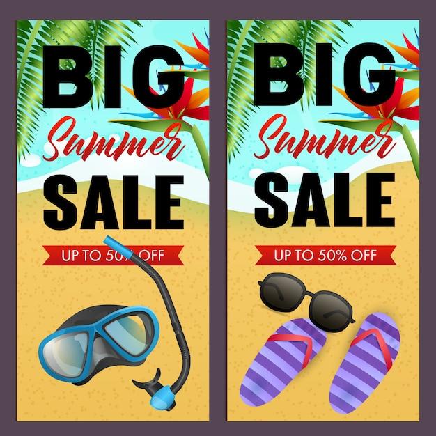 Gran venta de verano conjunto de letras, máscara de buceo, chanclas en la playa vector gratuito