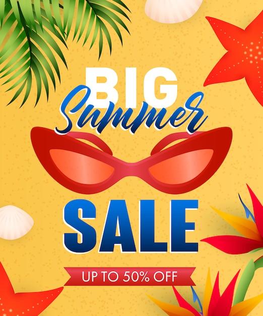 Gran venta de verano letras con estrellas de mar, flores y gafas de sol vector gratuito