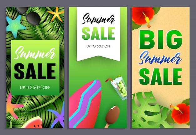 Gran venta de verano letras set, plantas tropicales y tabla de surf. vector gratuito