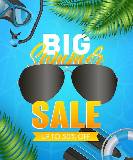 Grandes letras de venta de verano con máscara de buceo, snorkel y aletas vector gratuito
