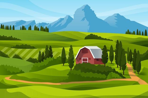 Granja de campo y montañas vector gratuito
