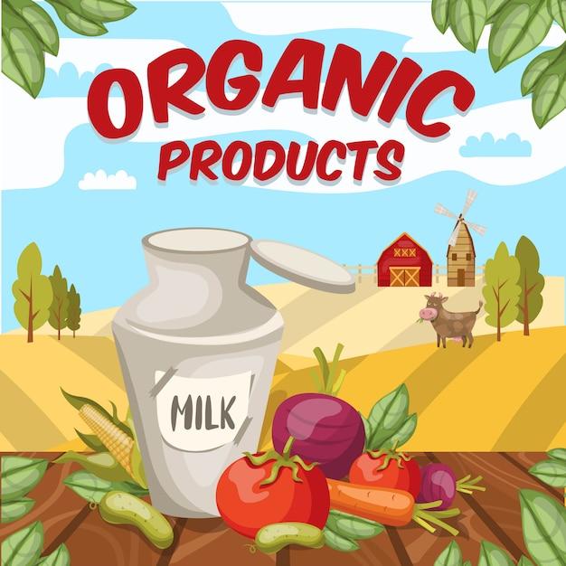 Granja de estilo de dibujos animados coloridos con productos vegetales orgánicos de remolacha de zanahoria y maíz y escena rural vector gratuito