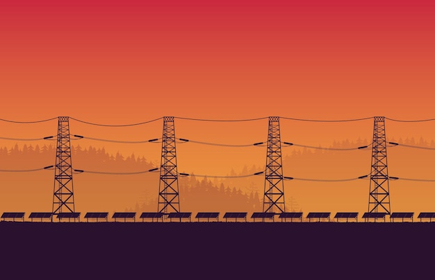 Granja de paneles solares de silueta con poste eléctrico de alto voltaje sobre fondo degradado naranja Vector Premium