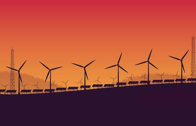 Granja de paneles solares de turbina eólica de silueta sobre fondo degradado naranja Vector Premium