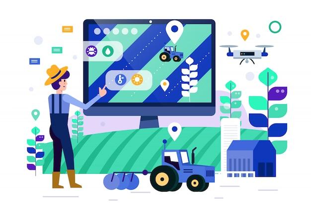 Granjero inteligente monitorear y controlar granja inteligente. Vector Premium