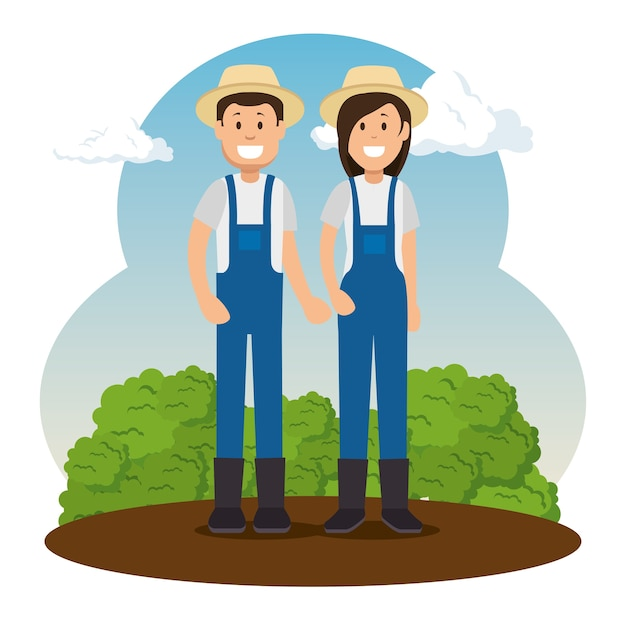 Granjero Jardinero De Dibujos Animados Personas Descargar Vectores