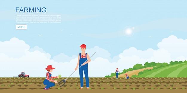 Los granjeros de la pareja que plantan plantas de semillero plantan verduras. Vector Premium