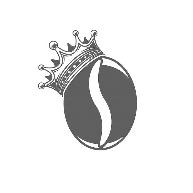 Grano de café con la ilustración del vector de la corona. silueta de la haba aislada en el fondo blanco. Vector Premium