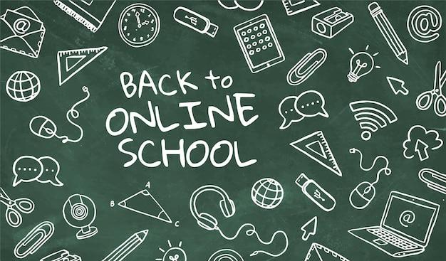 Greenboard de regreso a la escuela en línea con elementos dibujados a mano. vector gratuito