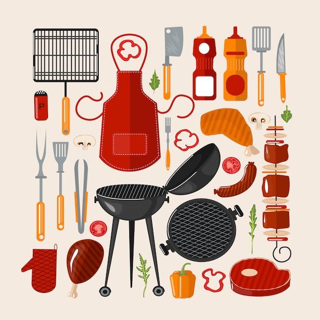 Grill barbacoa conjunto de elementos. set de comida a la parrilla con utensilios de cocina Vector Premium
