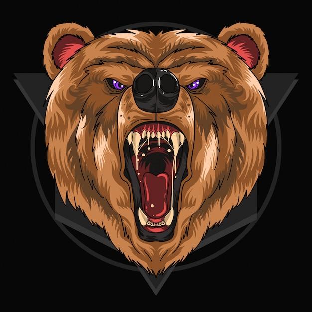 Grito de cabeza de oso Vector Premium