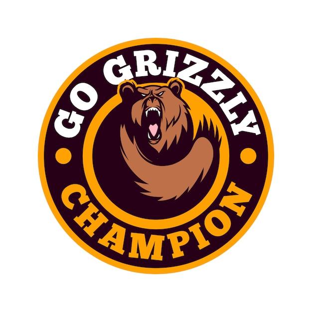 Grizzly bear sporty emblem logo Vector Premium