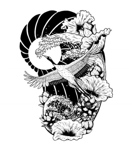 Grúa de corona roja con dibujo vectorial de loto a mano. Vector Premium